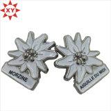 Zinc Alloy Silver Plated White Logo Metal Lapel Pins