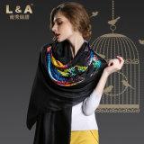 Black Sexy Lady Digital Printing Silk Scarves Shawls