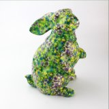 Custom Hotsale Colorful Ceramic Rabbit with Flower Full Decal Money Bank