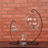 Round High Borosilicate Candle Glass Crafts with Metal Shelf for Wedding Decoration