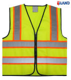 ANSI Standards High Visibility Fluorescent Knitted Fabric Reflective Tape Safety Vest