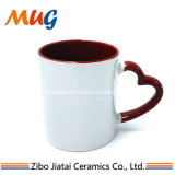 Wholesale Good Grade Inner Red Outer White Sublimation Ceramic Coffee Mug with Red Handle