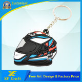 Customized Helmet PVC Rubber Key Chain / Promotion Gift Car Key Ring /Holder (XF-KC-P16)