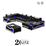 2020 Australia New Design Modern Furniture Genuine Leather Leisure Home/Office/Hotel Luxury Inductive LED Living Room Sectional Chaise Corner Sofa
