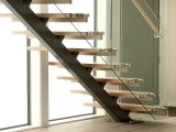 Safe and Low Price Indoor Mono Stringer/Beam Straight Staircase with Wood and Stainless Steel