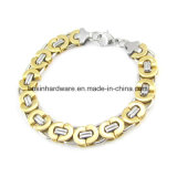 Gold and Silver Stainless Steel Flat Link Chain Bracelet for Men Jewelry