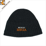 100% Merino Wool Winter Embroidery Beanie Knitted Hats (166001BE)