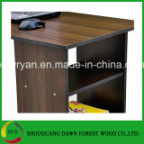 Brown Wood Computer Desk with Drawers and Storage Shelf Home Office