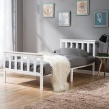 Simple White Single Bed