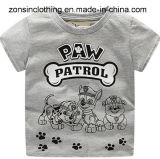 Boys′ Summer Gray Short Sleeve T-Shirt with Dog Printed Children Clothes
