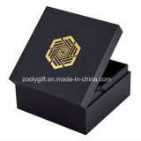 Gold / Silvery Stamping Logo Black Gift Packaging Box with Foam Insert