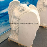 Western Style White Marble Angel Wings Gravestone Angel Upright Tombstone