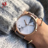 Women Marble Face Analogue Quartz Watches Genuine Leather Strap Brown for Ladies #V571