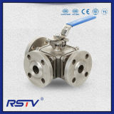 API6d/API608/JIS/DIN/GB Flange T Port/L Port Full Port/Reduce Port Floating/Trunnion Stainless Steel/Carbon Steel Manual/Pneumatic/Electric Three Way Ball Valve