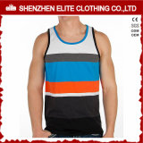 High Quality Men Fitness Printing Cotton Strip Tank Tops (ELTMBJ-449)