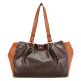 Bi- Color Soft Leather Turn Rock Woman Handbag (MBNO030083)
