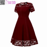 Sexy Vintage Summer Lace Round Neck Short Sleeve Princess A Line Tea Dress L36173-1