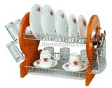 2 Layers Metal Wire Kitchen Dish Rack with Wooden Board