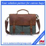 Men's Canvas Genuine Leather Crossbody Laptop Messenger Shoulder Satchel Bag (MSB-040)