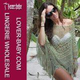 Sexy Young Girl Green Fringe Hem Crochet Beachwear (L38239)