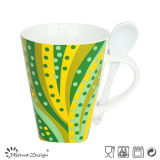 Colorful Decal New Bone China V Shape Mug Wtih Spoon