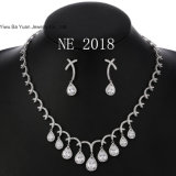 Rhodium Platinum Plated Silver Cubic Zirconia CZ Tear Drop Graduated Necklace and Earrings Set 18""