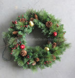 60cm Pre-Lit Decorated Wreath with Berries