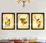 Three Gold Deer Picture with Frame for Decoration