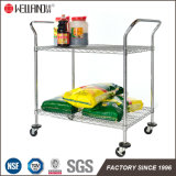 2017 Customized OEM 2 Tier Chrome Metal Wire Hotel Restaurant Food Trolley Cart with Wheels