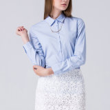 Customized Western Women Light Blue Classic Collar Cotton Business Shirt