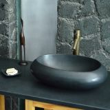 "19"" Oblong Round Black Granite Stone Sink for Bathroom"