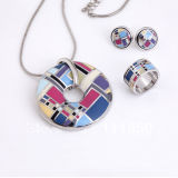 925 Silver Jewelry Set with Color Enamel High Polishment