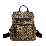 Women Casual Leopard Printing Canvas PU Leather Durable Backpack Shoulder Bag Travel Daypack