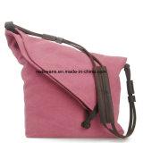 Pink Color Fashion Leather Strap Canvas Girl Designer Shoulder Tote Bag (RS-6631B)