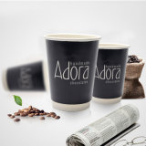 Customized Logo Printing Disposable Mug Double Wall 12oz Paper Cup with Lid for Hot Drinking