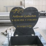 G654 Grey Granite Heart Shaped with Kerbs Gravestone