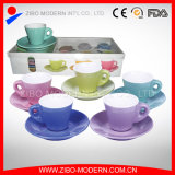 2-Tone Color Cup + Solid Saucers with Gift Box