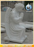 Stone Hand Carved Kneeling Angel of Intercession Statue