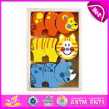 2014 New Colorful Wood Kids Block Puzzle Toy, Popualr Children Wooden Block Puzzle, Hot Sale Lovely Baby Block Puzzle Set W13e027