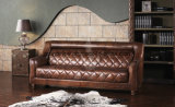 2017 Most Popular Antique Top Grain Vintage Leather Chesterfield Sofa