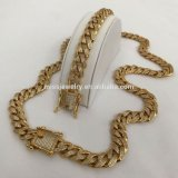 Dubai New CZ Micro Pave Hip Hop Diamond Gold Cuban Link Chain Neckalce Design for Men Mjcn059