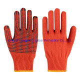 Orange Knitted Gloves with Rubber Dots