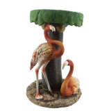 New Arrive Big Size Polyresin Flamingo and Coconut Tree Sculpture, Customized Resin Craft for Home Decor