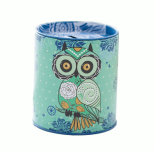 Owl Piggy Bank Tin Pen Pencil Brushes Holder Tinplate Save Spend Share Giving Coin Money Can