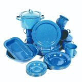 Cheap Blue Dinnerware Camping Picnic Cast Iron Coffee Pot Plate Cookware Enamel Set with Bag