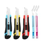 Razor-Sharp 5 Pack Retractable Utility Blade Knife Box Cutter with 3 Replacement Blades