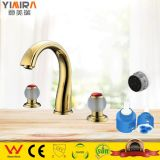 Gold Bathroom Basin Mixer Taps Dual Handles Deck Mounted with 3 Holes Basin Sink Faucet