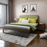 Modern Bedroom Furniture Set Solid Wooden Bed with Fabric for Home