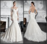 Long Sleeves Bridal Wedding Dresses Lace Tulle Mermaid Ball Gowns Z2036