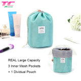 Waterproof Round Bucket Shape Cosmetic Bags Large Capacity Lazy Drawstring Makeup Bag